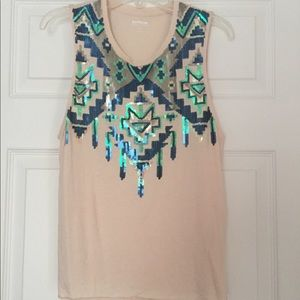 Express Aztec Sequined Tank